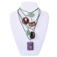 These sterling silver gemstone pendants are set on leather and are great if you want a gemstone close to you for a everyday piece of style. Listed from top to bottom, each on 16 inch/40cm: green aventurine, agate with a shell star and pearl, agate with a topping of quartz, green aventurine, agate with a topping of quartz and lepidolite with a bale of green aventurine. Each of these is only £12.50