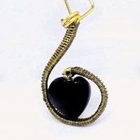Golden obsidian heart pendant